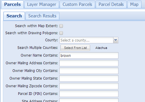 Parcel search form provides 30+ parameters to find properties in Florida